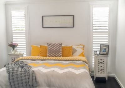 Hardwood Shutters Hinged - Bedroom Yellow and Grey