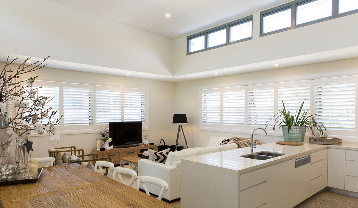 Hardwood Shutters Hinged - Open Plan Kitchen, Dining - Newport