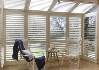 Hardwood Shutters - Large Bay Window with Door