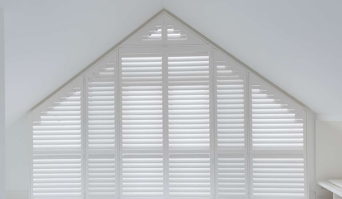 Hardwood Shutters - Triangular with Stepped Rail - Vaucluse