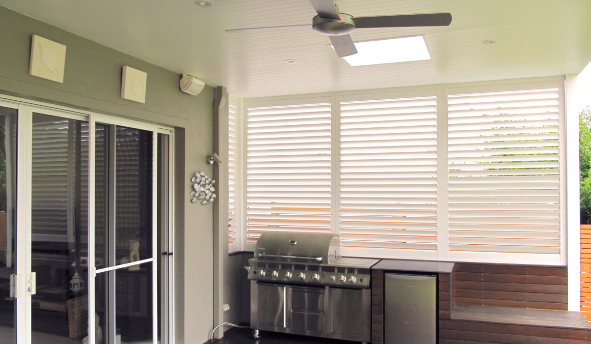 Aluminium Shutters - Fixed Panels in BBQ Area 1