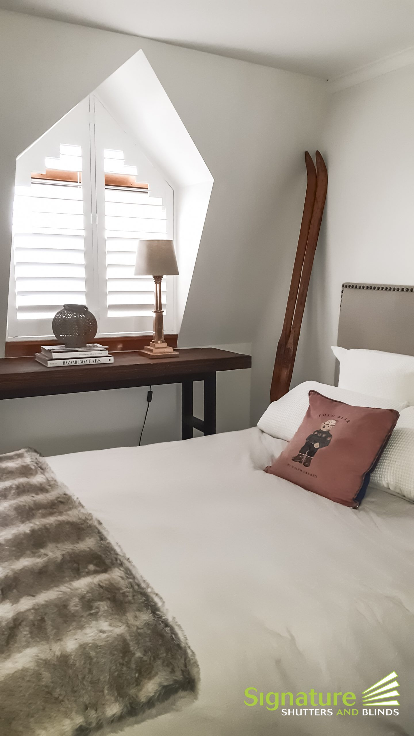 Angled Shutters in Bedroom